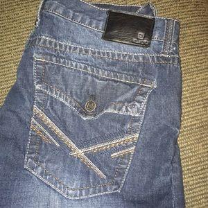 Black brand distressed boot cut denim jeans 38x32